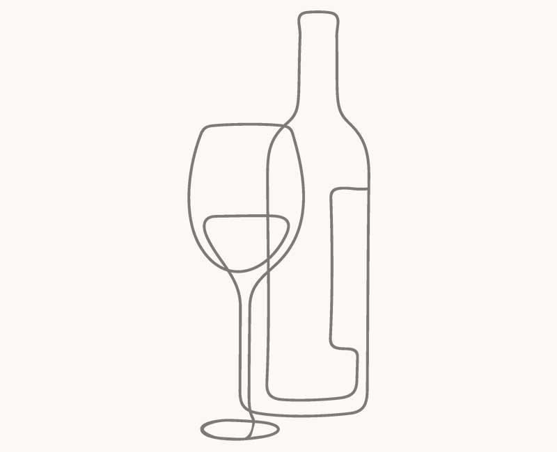 Dessin en ligne continue en gris fer d'une bouteille et d'un verre de vin